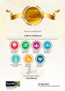 Lynette Stenfeldt Certificate